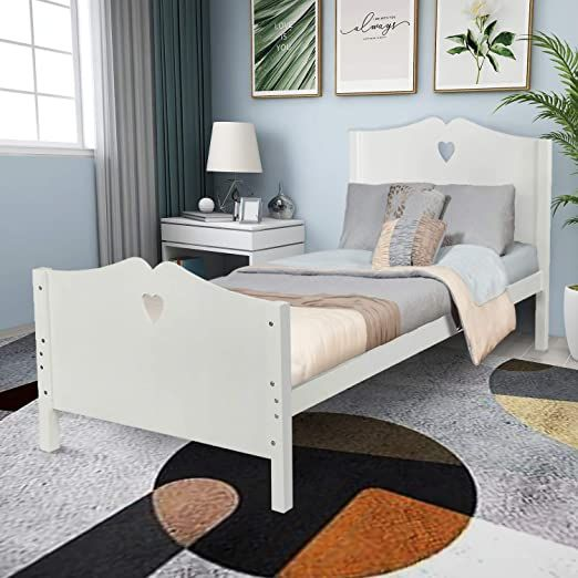 Zuozee Bed Frame Twin Platform Bed With Strong Wood Slat Support Headboard And Footboard White Wood Platform Bed White Bed Frame Twin Platform Bed Frame Twin bed frame with headboard and footboard