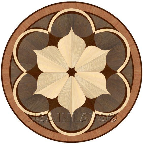 Flooring and floors on pinterest for Wood floor medallions