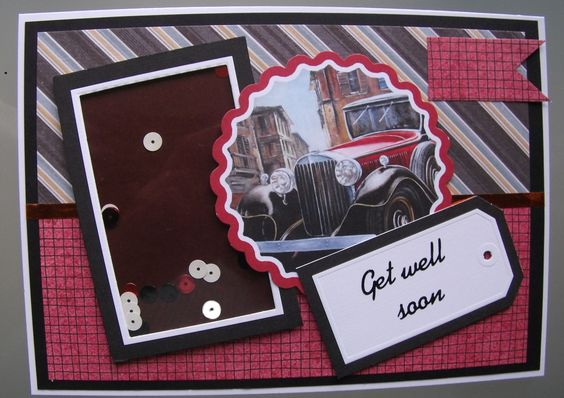 The challenge on A Place To Start is 'Create a Shaker Card', so I have used sequins in the shaker panel and a vintage car picture to make a get well card for a man. I have also entered this card in 3 other challenges.