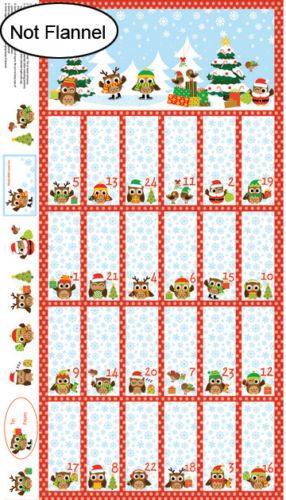 Baumwolle-Holiday-Hoot-Adventskalender-Weihnachten-Panel-60cm