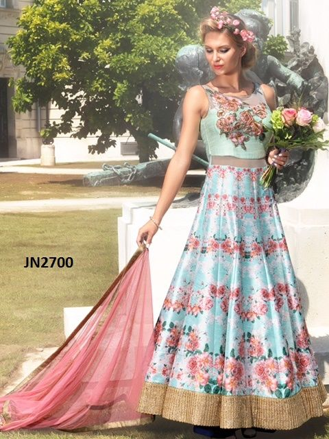 If you want to buy then please contact: 9638999757 & 9104999757 or Whatsapp no : 9638999757 : Tasmin Gopani & Radhi Gopani  TOP COLOR: GREEN & BLUE TOP FABRIC: PURE BHAGALPURI DIGITAL PRINT BOTTOM COLOR: GREEN BOTTOM: SANTOON INNER: GREEN INNER FAB: RAW - SILK SIZE: XL TYPE: HAND WORK GOWN BUST SIZE:MAX UPTO TOP LENGTH: 57 INCH PRICE: 123$ ONLY