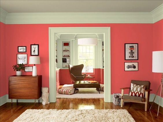 Transitional Living Room! Wall Color: Red Parrot