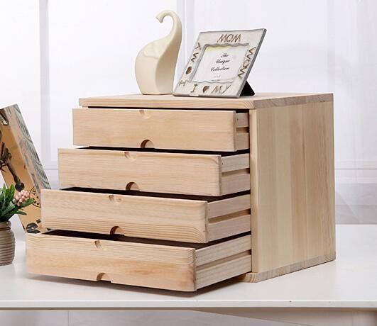 4 Drawer Real Wood Desk Organizer, Desktop Drawers Wood