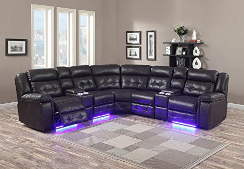 Furniture World Power Recliner Sectional With Consoles And Led