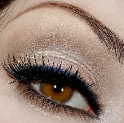 My usual look..without the professionally done finish lol. Nude Shimmer Eyeshadow with Black + Blue Eyeliner