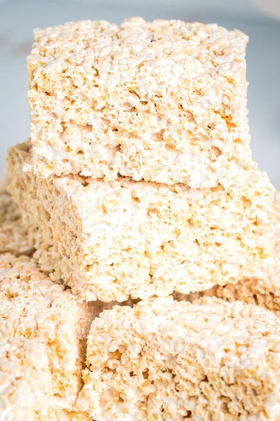 Close up picture of finished Rice Krispies Treats.