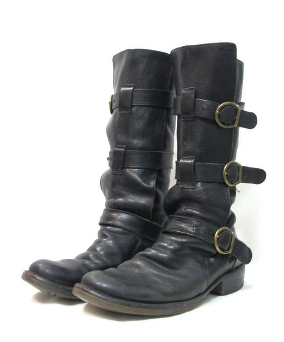FIORENTINI + BAKER Black Leather Buckle Strap Trim Motorcycle Boots sz 37 7 $595 #shopmodo #modoboutique www.modoboutique.com