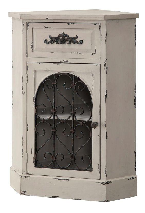 Crestview Albany Antique White Corner Cabinet - CVFZR916
