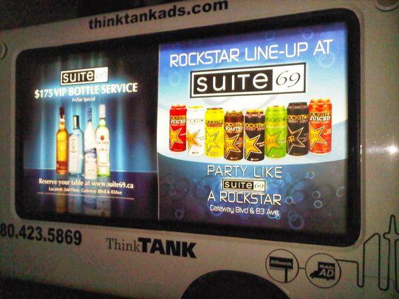 A different view from the same campaign showcases how Suite 69 made the most of the Mobile Showroom's 3 illuminated panels by running different advertisements on each one for an awesome night time campaign! #mobileads #mobileadvertising #outdooradvertising #alternativeadvertising