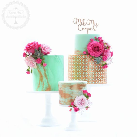 Stunning wedding cake trio in mint, copper and bright pink. Trending now in cake…