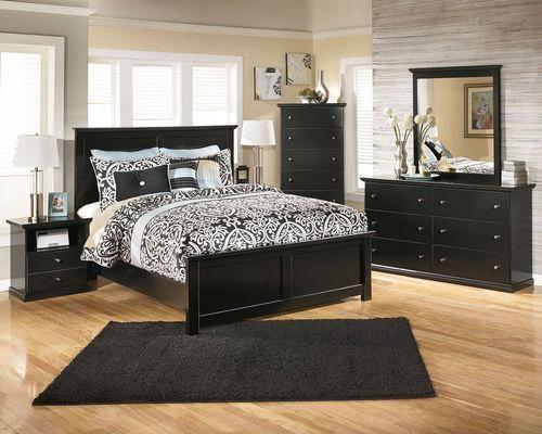 Maribel Black 6 Pc Dresser Mirror Chest Queen Panel Bed Contemporarybedroomfur Black Bedroom Furniture Black Bedroom Furniture Set Bedroom Furniture Sets
