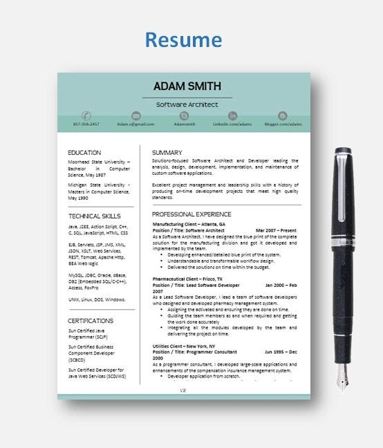 Professional Resume Template CVTemplate + Add On Page + Cover - reference template for resume