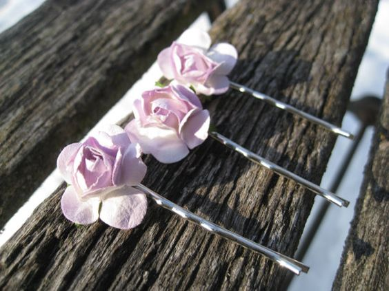 Delicate Lavender Hair Decoration Set of Three by TreeTownPaper, $16.00