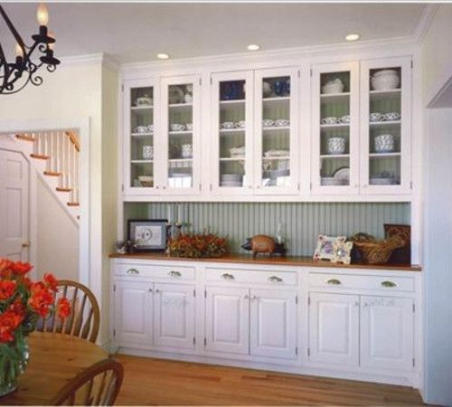 Glasses cabinets and painted wainscoting on pinterest - Dining room built ins ...