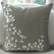 Mother of Pearl Embellished Silver Silk Pillow