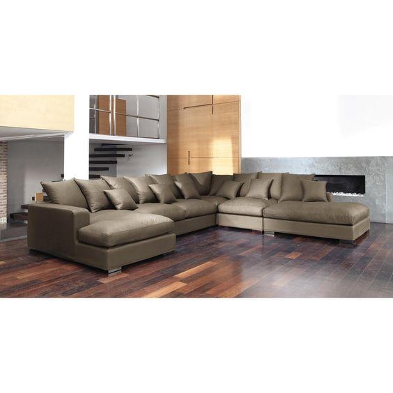 Canapé d'angle modulable 7 places en coton taupe Loft | Maisons du Monde