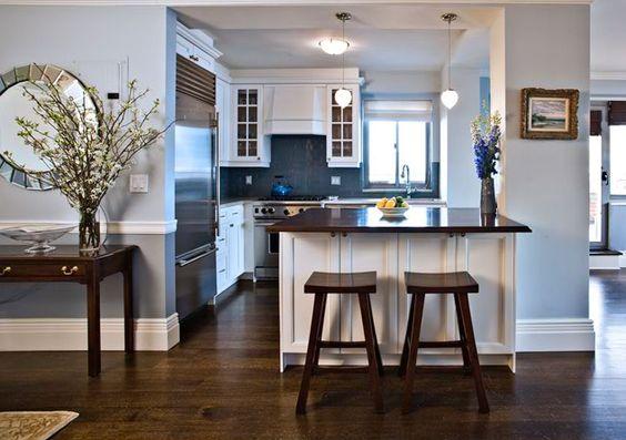 Best Blue Brown Kitchen Design With Espresso Stained Wood 640 x 480