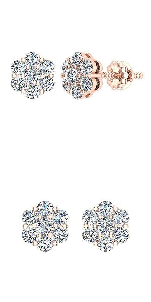 14k Yellow Gold//Sterling White Sapphire Flower Stud Earrings w//Screw Back