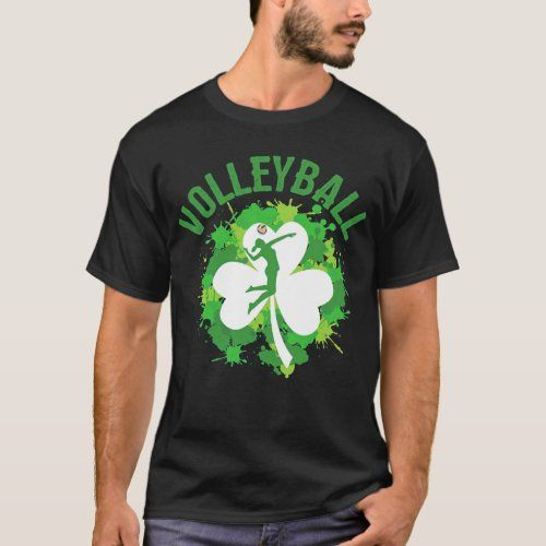 Volleyball Shamrock Irish Sports St Patty S Day Lo T Shirt Zazzle Com In 2020 St Pattys Day Shirts Volleyball