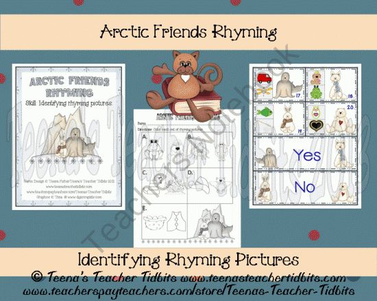 Arctic Friends Rhyming Pictures FREE product from Teenas-Teacher-Tidbits on TeachersNotebook.com