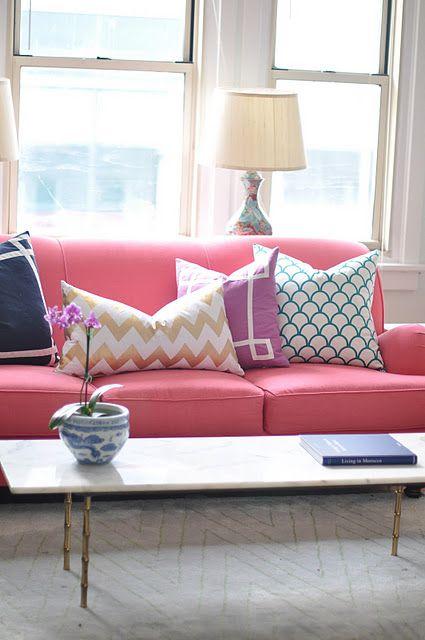 CWD pillows.. love the coral sofa