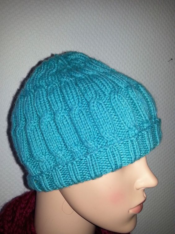 Dawanda 14,00 € türkisfarbene Mütze mit Zopfmuster reine Merinowolle mit Superwash ganz weich
