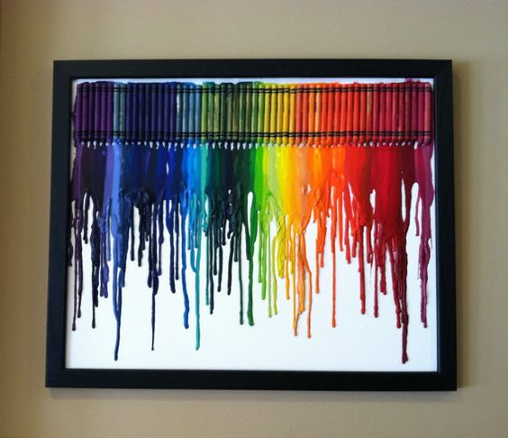 Box of crayons and a hair dryer = art