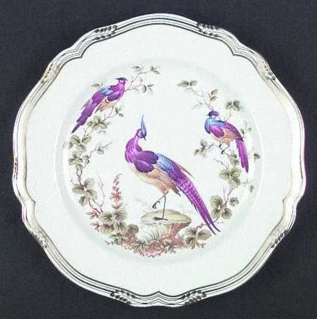 """Chelsea Bird"" china pattern in gold & white with purple birds from Spode."