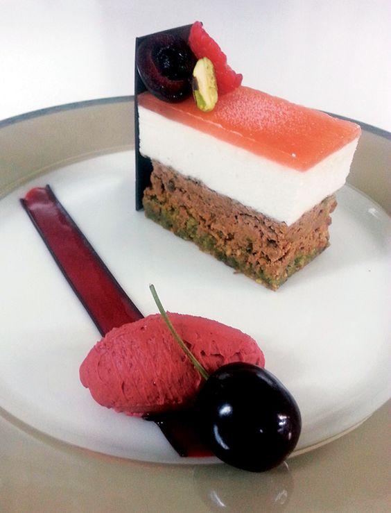 Dessert Professional | The Magazine Online - Pistachio Brittle & White Peach Mousse With Griotte Mascarpone Sorbet