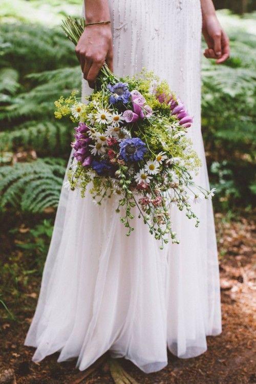 Relaxed Wildflower Wedding Bouquet Freshly Picked Summer Garden