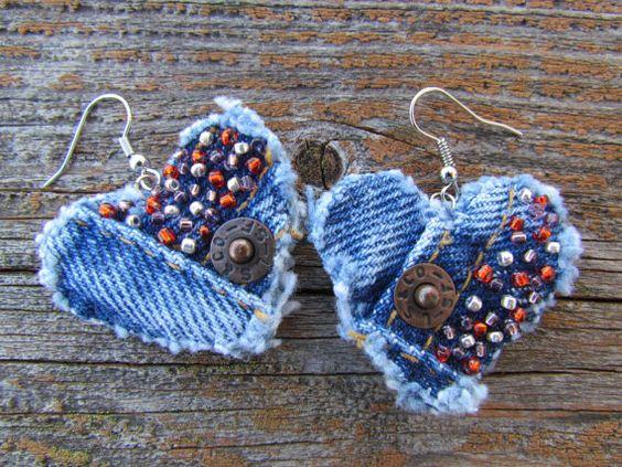 Boucles d'oreilles - en forme de coeur, Denim recyclé