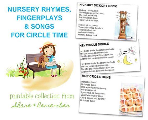 Nursery Rhymes, Fingerplays & Songs Printables | Things to Share & Remember