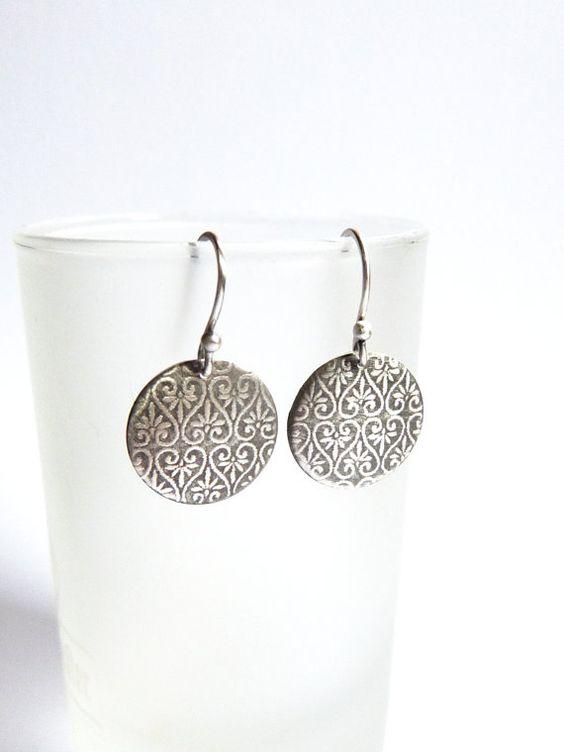 Textured disc earrings silver earrings dangle earrings by Mirma