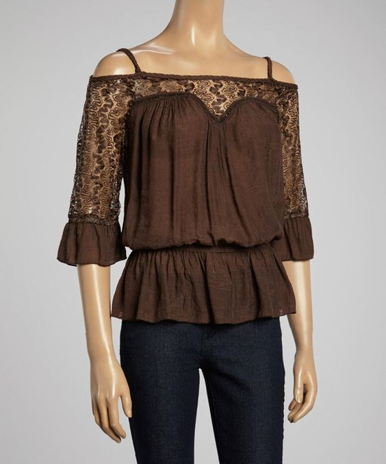 Loving this IRE Brown Lace Cutout Top on #zulily! #zulilyfinds
