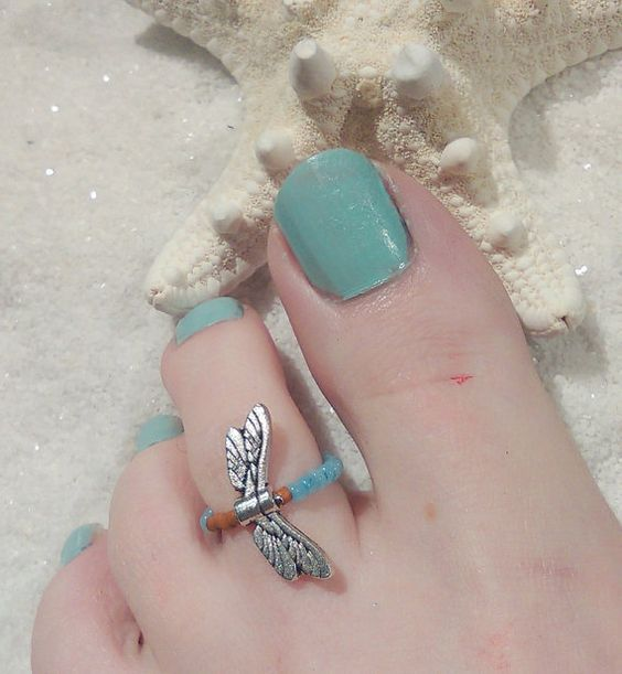 Dragon Fly-Beaded Toe Ring-Free by AnExpressionJewelry on Etsy