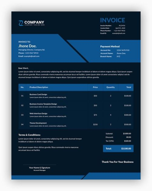 Abstract Dark With Blue Color Corporate Business Invoice Template Banner Template Design Invoice Template Business Poster