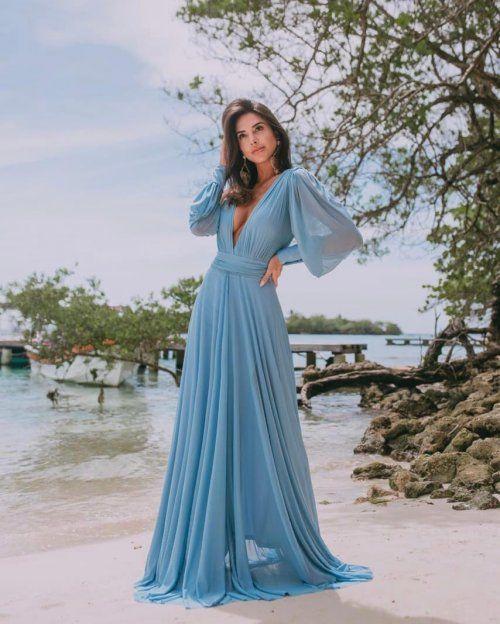 modelos de vestido de formatura azul
