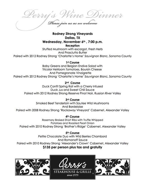 Join us Wednesday, Nov. 6 at 7pm for a very special Wine Dinner, featuring a five-course menu paired with wines from @Rodney Strong Vineyards. RSVP to reserve your seat today!