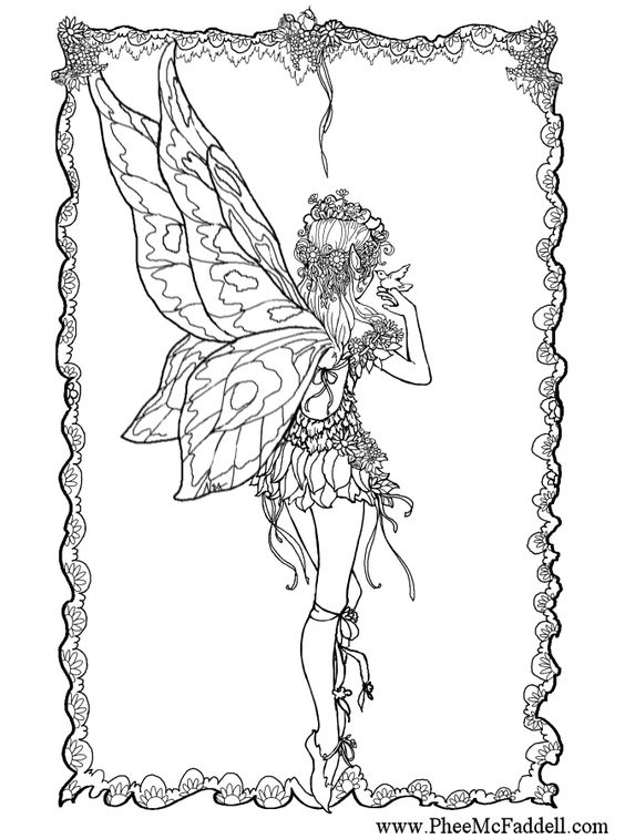 fairy and bird coloring page | Fairie Tales... | Pinterest ...