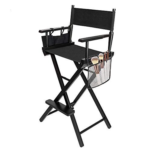 Mefeir Height Tall Director Chair Folding Artist Makeup With Replacement Cover Storage Side Bags Portable Footrest S Folding Chair Directors Chair Chair