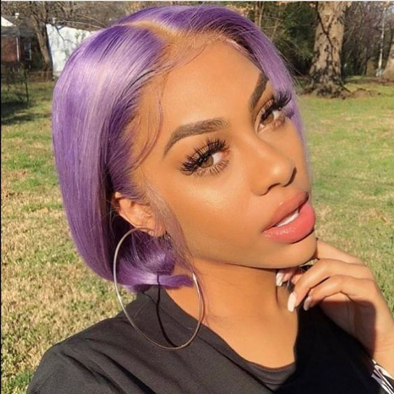 Purple Color Short Bob Hair Fashion For Black Girls In 2020 Wig Hairstyles Hair Styles Purple Hair