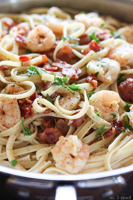 Shrimp and Bacon Pasta Carbonara | Recipe | Bacon recipes ...