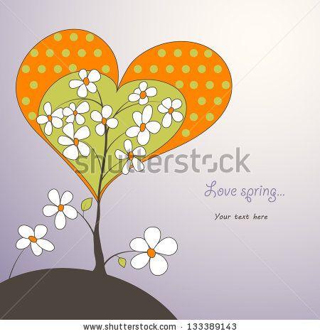 heart shaped spring tree - stock vector