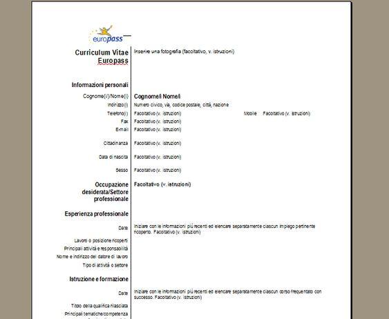 Curriculum vitae Europass Scarica il CV treccia Pinterest - europass curriculum vitae