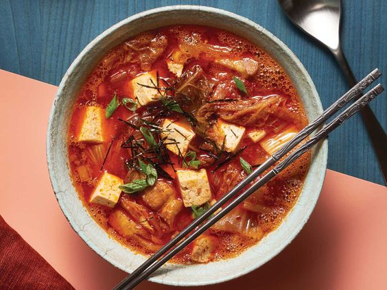 Korean Kimchi Stew with Pork Belly and Tofu (Kimchi-jjigae)