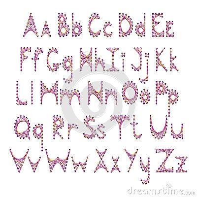 Englisches Alphabet des Vektors gestickt auf Pappe