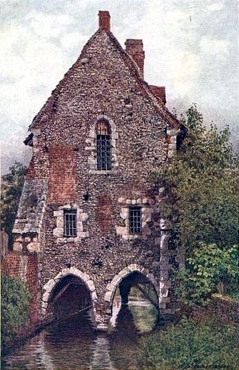 THE GREYFRIARS' HOUSE IN CANTERBURY, ENGLAND.  This picturesque house of the Franciscans, who came to the town in 1220, stands on a branch of the Stour near Stour Street.