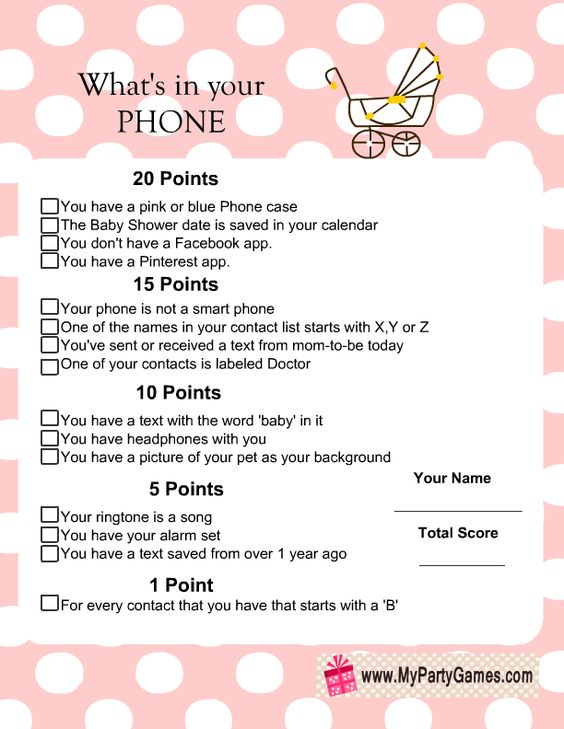 what 39 s in your phone baby shower game free printable baby shower