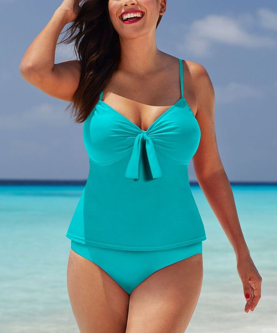 Turquoise Tie-Front Tankini Top & Bottoms - Plus Too