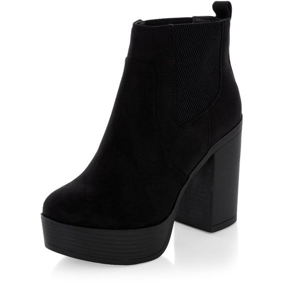 New Look Black Suedette Chunky Block Heel Chelsea Boots (£30) ❤ liked on Polyvore featuring shoes, boots, ankle booties, heels, zapatos, black, block heel booties, chunky black boots, chelsea boots and chunky heel boots